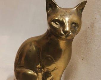 Vintage Modernist Brass Cat Figurine