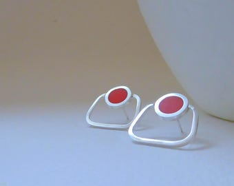 Orange Stud Earrings - Square Studs - Small Square Hoops - Colour Pop Jewellery - Gift for a Girlfriend - Pop Outline Studs