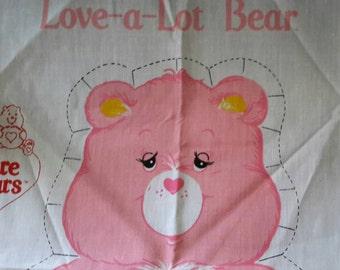 Vintage -- Care Bears Pillow Panel Fabric -- Uncut -- Love-a-Lot-Bear