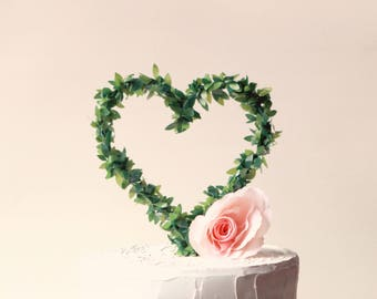Leaf Heart Cake Topper Rustic Wedding Woodland Top Boxwood Wire Greenery