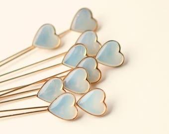 Tiny heart boutonnieres, Wedding stick pins, Unique opal heart button holes, Vintage heart pins, Minimalist groom, Groomsmen boutonnieres