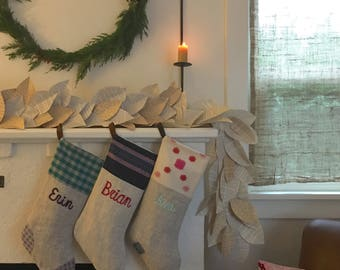 Christmas Stocking Set of Three 3 Personalized Custom Embroidered Linen Family