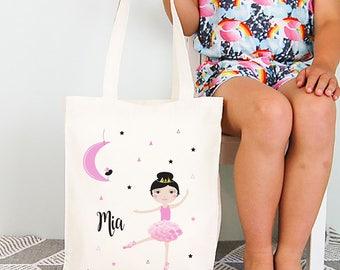 Moon Dancer Girls Personalised Library Tote Bag