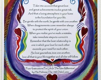 Take Into Account DALAI LAMA INSTRUCTIONS Inspirational Rules Wedding Spiritual Valentine Yoga Meditation Heartful Art by Raphaella Vaisseau