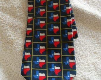 State of Texas Neck Tie, Business Suite Tie, Red, White & Blue Lone Star State Tie, Patriotic Tie, Texas Navy Squares Tie, DC Enterprises