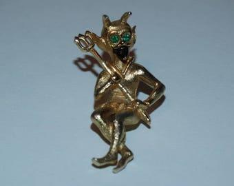 Vintage Green Eyed Devil Pin, Pitch Fork, Halloween Pin, Devilish, Gold Devil Pin, Horns