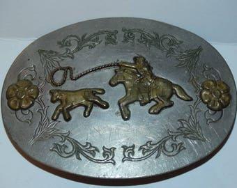 1960's Frontier Nickel Silver Belt Buckle, Western Belt Buckle, Bronco Horse, Lasso, Calf, Hondo, Horseback