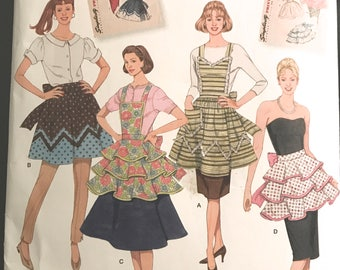 Misses Retro Aprons Sewing Pattern - Simplicity Archives Sewing Pattern 2592 - New and Uncut - Size A - S, M, L