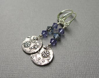 Swarovski Bead and Silver Charm Dangle Earrings, Sterling Silver, Floral, Fine Silver, Denim Blue, Violet Purple, PMC Jewelry, Gift Under 35