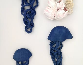 Jellyfish ceramic wall sculpture. Set of 3 art installation. Large wall art. Matte indigo fish. Ocean, Sea mermaid wall decor. Cobalt Blue