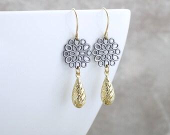 14k Gold Earrings Black And Gold Dangle Earrings Elegant Earrings Mixed Metal Jewelry 14k Solid Gold Drop Earrings Solid Gold Jewelry