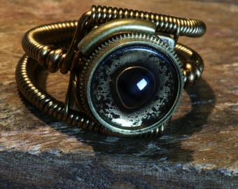 Steampunk eye ring, Pike eyeball ring, Taxidermy glass eye, Antique  bronze, hand-painted glass eye, fish eye, Original Steampunk Jewelry
