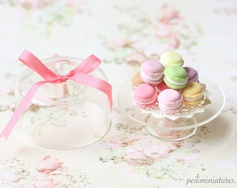 Dollhouse Miniature Food - Sweet Macarons on Glass Display Stand - 1/12 Dollhouse Miniature Scale - For Lati Yellow or Pukifee Dolls