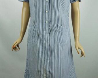Vintage Nurse - Red Cross Uniform Blue and White Stripe by Snowhite Sz 36