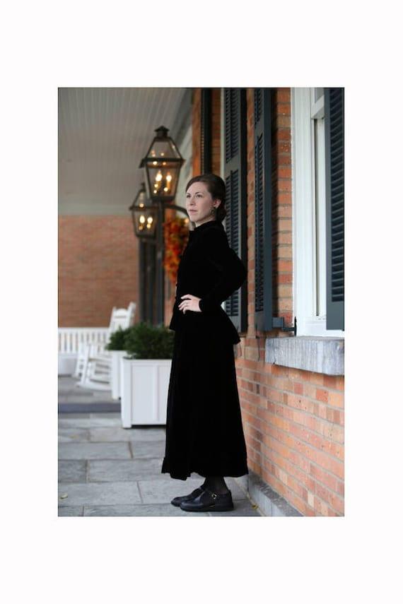 Vintage Black Velvet Mourning Outfit -XS-