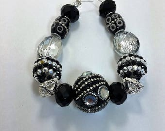 Set of 14 Black and Silver Assorted Variety Beads