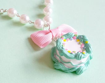 Birthday Cake Necklace Pastel Mint Green Pink and Rainbow Sprinkles Cake Necklace Pastel Cake Necklace Cake Jewelry Birthday Jewelry