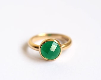 Green Onyx Ring, Silver or Gold Stone Set Ring, Green Ring, Faceted Onxy Ring, Precious Handmade Ring, Made in Brighton.