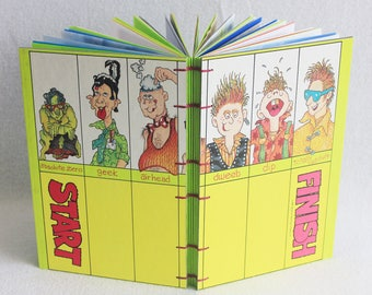 Dweebs Geeks and Weirdos Journal Recycled Game Board Book Upcycled Nerds and Dorks Board Game by PrairiePeasant