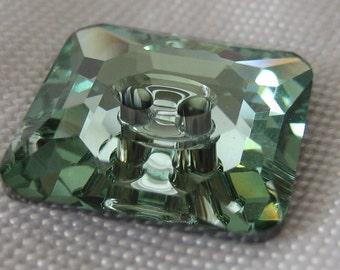 Square Chrysolite Green Swarovski Crystal BUTTON