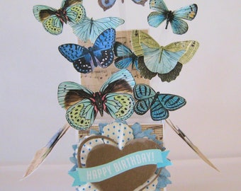 Butterfly Box Card - Birthday Pop Up Card - Card in a Box