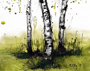Landscape painting 8x12in, A4 - canvas sheet - birch trees on green grass
