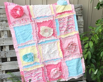 Floral Crib Bedding Baby Rag Quilt - Pink / Mint / Yellow Crib Bedding - Girl Nursery Bedding - Ruffle Baby Bedding - Crib or Toddler Quilt