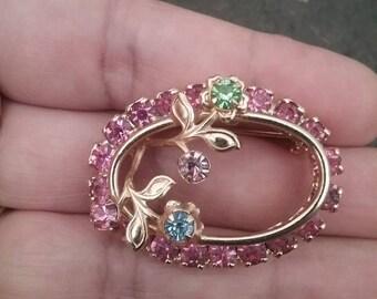 Vintage Brooch, Vintage Rhinestone Brooch, Pink Brooch, Flower Brooch, Vintage Jewelry, Vintage Pin, Pink Rhinestone Brooch