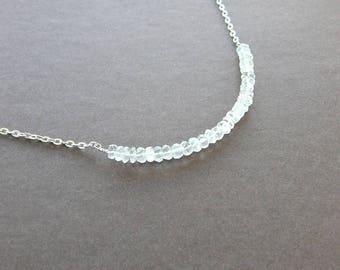 Quartz Crystal Necklace Clear Quartz Roundel Crystal Line Necklace Raw Beauty Stackable Silver Necklace Petite Gems