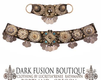 "Lunar Goddess, BELT, Small, 33.5""-36"" Inches, 85cm-92cm, Brass, Silver, Gold, Kuchi Coins, Fusion,  Nouveau, Ritual, Tribal, Costume"