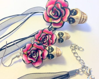 Sugar Skull Jewelry Set Pink Black White Day of the Dead Sugar Skull Necklace and Earrings Set