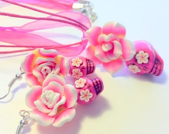 Sugar Skull Jewelry Set Pink Yellow White Day of the Dead Sugar Skull Necklace and Earrings Set