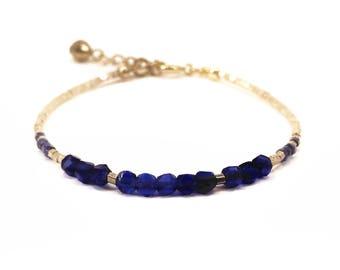 Cobalt blue and gold beaded bracelet