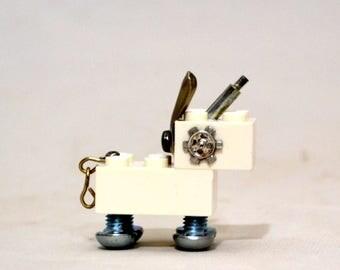PIXIE the UNIBOT, Assemblage Art Recycled Robot Sculpture, Robot Unicorn