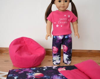 Galaxy Sleeping Bag Bean Chair Pajamas For A 18 Dolls Like