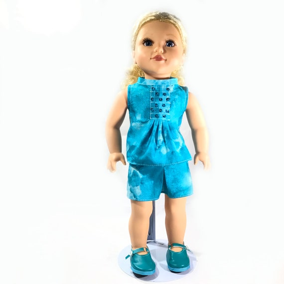 "Two-piece Outfit (Top and Skirt) for American Girl and other 18"" Dolls: Turquoise Print"