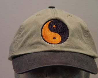 YIN YANG Symbol Hat - One Embroidered Chinese Philosophy Cap - Price Embroidery Apparel - 6 Two Tone Color Caps Available