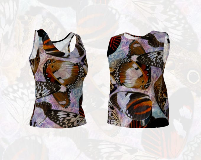 Women's Loose or Fitted Tank Top Pretty Butterfly Wing Collage and Purple Pink Watercolour Scroll Modern Boho Style Pattern