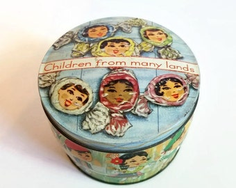 Children From Many Lands Vintage Tin Made in England