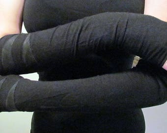 Minimalist Goth Arm Warmers/ Deerskin Details/ XS/ Black
