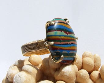 Rainbow Calsilica, striped ring, modern ring, multi color jewelry