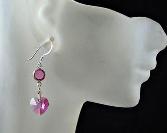 Pink Crystal Heart And Sterling Silver Dangle Earrings; Dainty Short Heart Earrings; Minimalist Earrings; Bridal Gift for Her; Sweet 16 Gift
