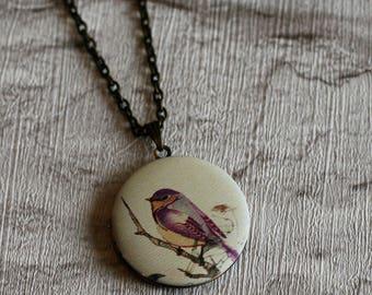 Pink Bird Locket Necklace, Bird Necklace, Bird Pendant, Pink Bird Necklace