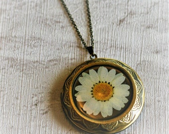 White Flower Locket Necklace, Floral Necklace, Flower Locket Necklace