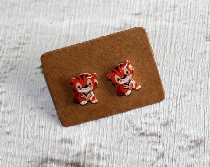 Tiger Earrings, Teeny Tiny Earrings, Big Cat Jewelry, Cute Earrings