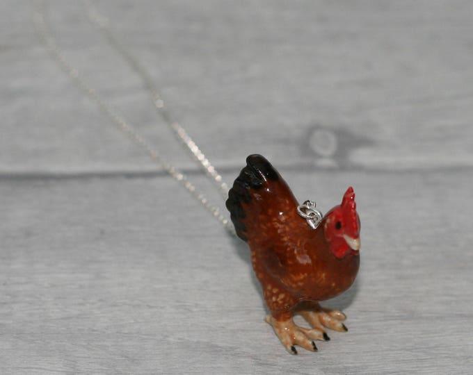 Porcelain Chicken Necklace, Animal Necklace, Bird Jewelry