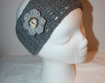 Crochet headband, crochet ear warmer, earwarmer, headband flower, gray, grey, woman gift, teen gift