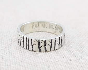 Personalized Silver Ring - Wedding Band - Forest Jewelry - Engraved Ring - Birch Tree Ring - Stocking Stuffer - Gift - Gift for Her
