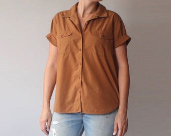 rust cotton utility top | 90s short sleeve blouse | m-l