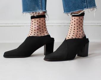black elastic mules | chunky heeled mules, size US 10 | EUR 41